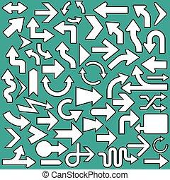 ensemble, icônes, flèches, illustration, symboles, vecteur
