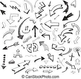 ensemble, icônes, flèches, main, vecteur, dessiné, blanc