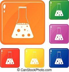 ensemble, icônes, flacon, chimique, couleur, vecteur