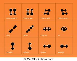 ensemble, icônes, gestes, arrière-plan., multitouch, orange