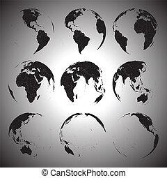 ensemble, icônes, globe, illustration, vecteur, noir