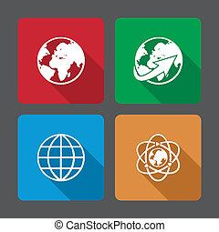 ensemble, icônes, globe, long, la terre, ombre