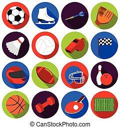 ensemble, icônes, grand, symbole, collection, vecteur, noir, illustration, fitness, sport, style., stockage
