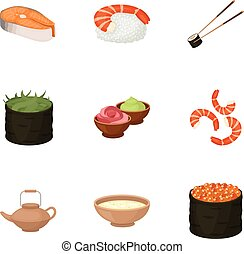 ensemble, icônes, grand, symbole, sushi, collection, style., vecteur, illustration, dessin animé, stockage