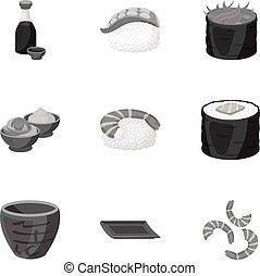 ensemble, icônes, grand, symbole, sushi, collection, vecteur, illustration, monochrome, style., stockage