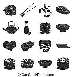 ensemble, icônes, grand, symbole, sushi, collection, vecteur, noir, illustration, style., stockage