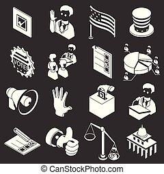 ensemble, icônes, gris, vecteur, élection, vote