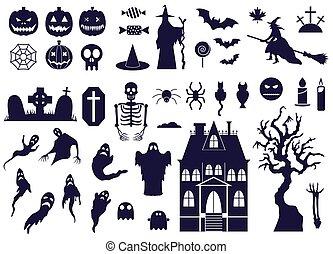 ensemble, icônes, halloween, bw, éléments conception