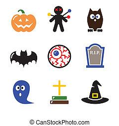ensemble, icônes, halloween, -, noir, citrouille