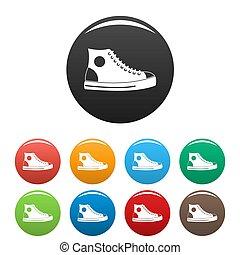 ensemble, icônes, hommes, collection, chaussure, cercle