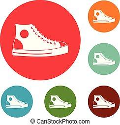 ensemble, icônes, hommes, vecteur, chaussure, cercle
