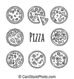 ensemble, icônes, illustration, vecteur, ligne, blanc, pizza