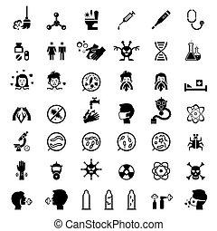 ensemble, icônes, infection, protection, santé, infestation
