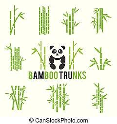 ensemble, icônes, isolé, arrière-plan., vecteur, bambou, blanc