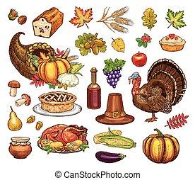 ensemble, icônes, isolé, thanksgiving, vecteur, jour