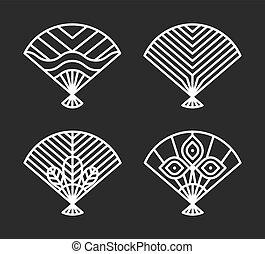 ensemble, icônes, japonaise, illustration, ventilateurs, vecteur