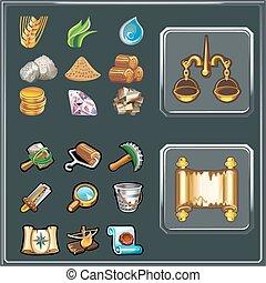 ensemble, icônes, jeu, vecteur, utilisateur, dessin animé, interface