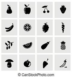 ensemble, icônes, légumes, fruit, vecteur, noir