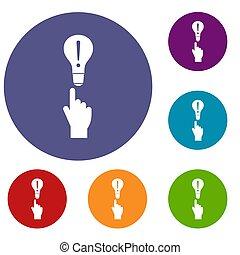 ensemble, icônes, lumière, doigt, ampoule, indicateur