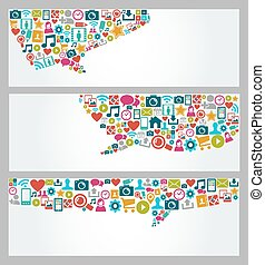 ensemble, icônes, média, social, bannières, bulle, parler