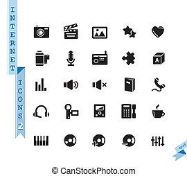 ensemble, icônes, média, vecteur, arrière-plan noir, blanc
