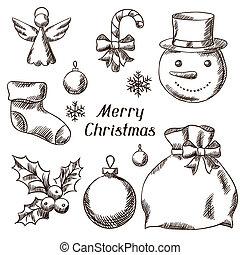 ensemble, icônes, main, joyeux, dessiné, objects., noël