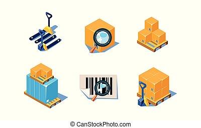 ensemble, icônes, marchandises, theme., apparenté, équipement, boîtes, vecteur, chargement, verre, palettes, entrepôt, document, magnifier, 3d