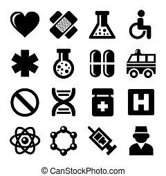 ensemble, icônes, medic, arrière-plan., vecteur, blanc