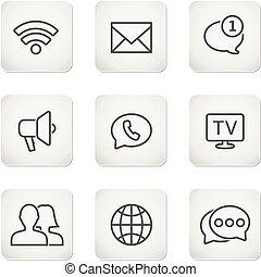 ensemble, icônes, mobile, -, boutons, contact