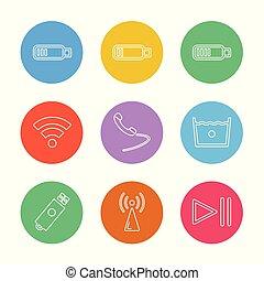 ensemble, icônes, mobile, média, social, eps, téléphone, vecteur, internet, intelligent