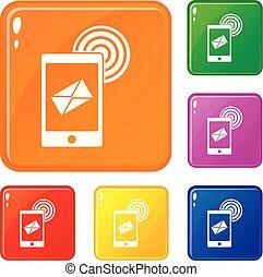 ensemble, icônes, mobile, signe, couleur, vecteur, courrier