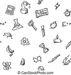 ensemble, icônes, modèle, seamless, vecteur, science, doodles
