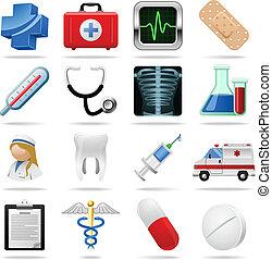 ensemble, icônes, monde médical, isolé, symboles, vecteur, white.
