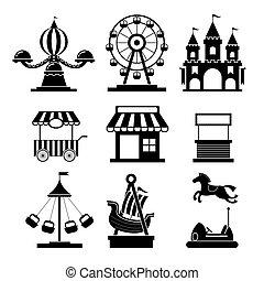 ensemble, icônes, mono, parc, objets, amusement
