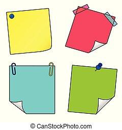 ensemble, icônes, notes, il, vecteur, poste