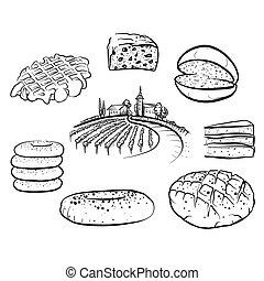 ensemble, icônes, nourriture, main, dessiné, pain