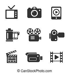 ensemble, icônes ordinateur, photo, vecteur, vidéo