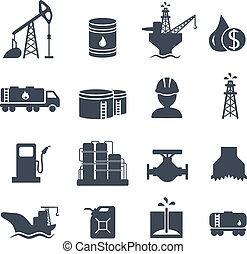 ensemble, icônes, pétrole, industrie, essence, gris, huile