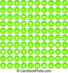 ensemble, icônes, pluie, vert, 100, cercle