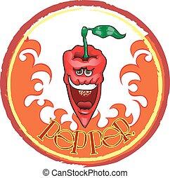 ensemble, icônes, poivres chauds, piment, rouges