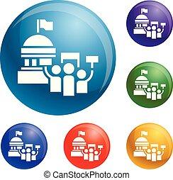 ensemble, icônes, politique, vecteur, élection, réunion