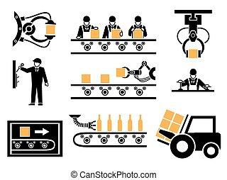 ensemble, icônes, processus, production, fabrication, ou