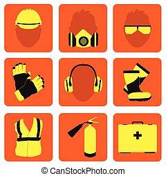 ensemble, icônes, sécurité, signes, santé, professionnel