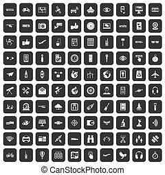 ensemble, icônes, sans fil, noir, 100, technologie