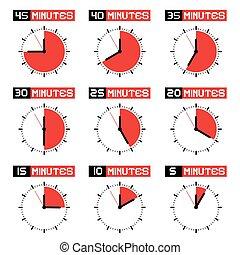ensemble, icônes, set., isolé, clock., compte rebours, arrière-plan., vecteur, temps, chronomètre, blanc