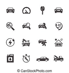 ensemble, icônes, simple, apparenté, vecteur, voiture., conception, icône