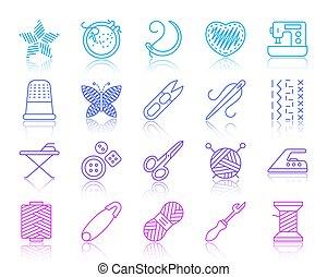 ensemble, icônes, simple, couture, couleur, vecteur, ligne
