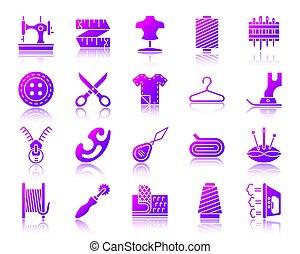 ensemble, icônes, simple, couture, gradient, vecteur