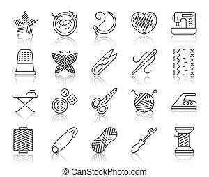 ensemble, icônes, simple, couture, vecteur, noir, ligne