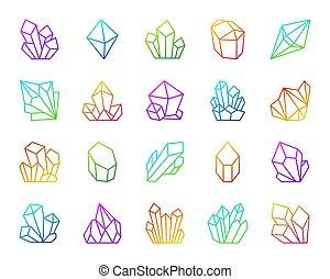 ensemble, icônes, simple, cristal, vecteur, ligne, couleur